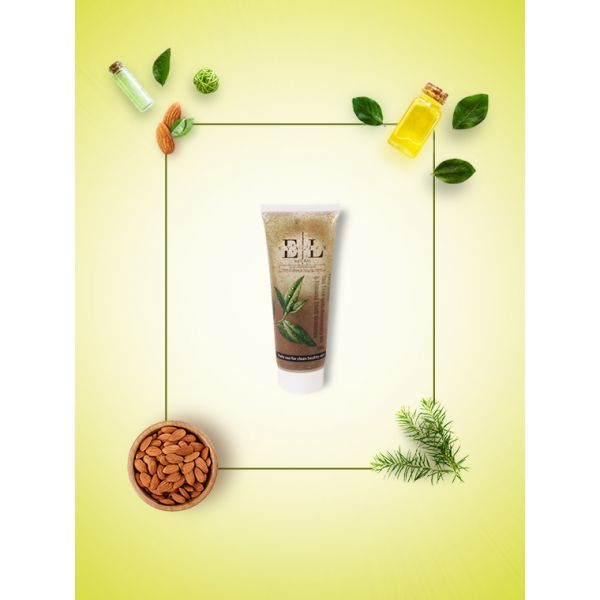 Natural Face Scrub - Tea Tree with Rosemary Oil &  Almond Shell Granules